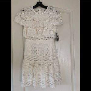 Self- portrait ruffled broderie anglaise dress